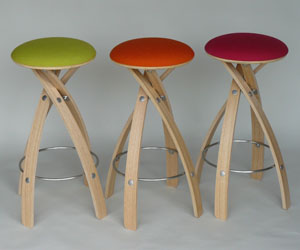 Bright Wool Fabric Stools